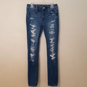 American Eagle Womens  Distressed Jegging Jeans 0
